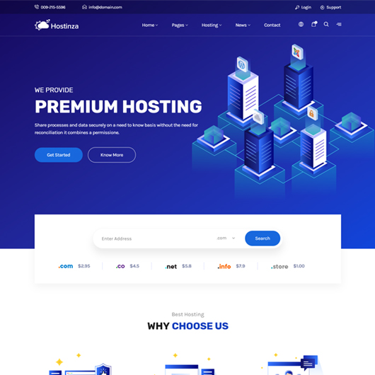 Hostinza - Isometric Web Hosting, Domain and WHMCS Html