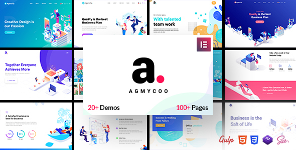 Agmycoo – Isometric Startup Creative Digital Agency WordPress Theme