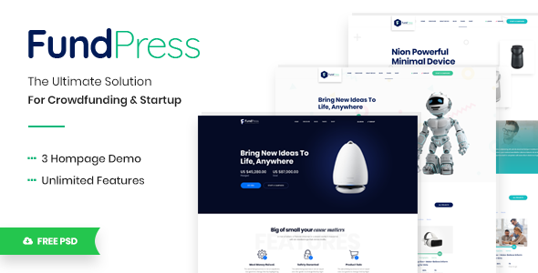 FundPress – Crowdfunding Startup Fundraising HTML5 Template